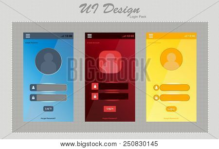 Mobile Ui Kit. Login Form, Sign Up Form For App Development. In 3 Color Blue Red And Yellow . Vector
