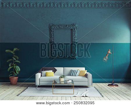 modern living room  interior. 3d rendering color blocking concept