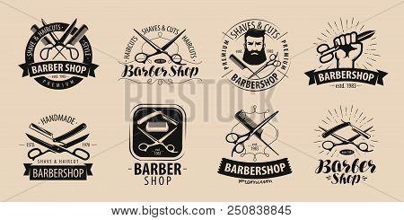 Barbershop, Hairdressing Salon Logo Or Label. Vector