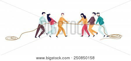 Excited Man Woman Pull Rope. Tug Of War Competition Between Two Teams. Concept Of Sports Activity Fo