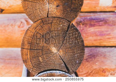 Close Up Details Of Logs On The Side Of A Log Cabin Building.