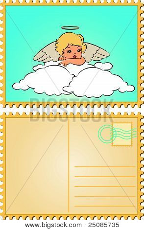A beautiful angel with wings on the background of the vector