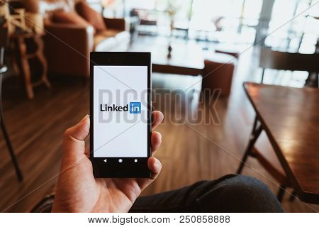 Chiang Mai, Thailand - July 7 ,2018 : Sony Phone Mobile With Linkedin Application On The Screen. Lin