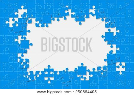 Blue Background Puzzle. Jigsaw Puzzle Banner. Vector Illustration Template Shape. Abstract Backgroun