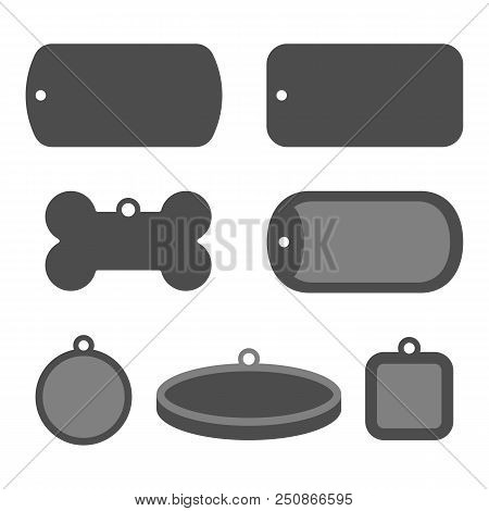 Set Of Dog Tag Id Badges. Identification Labels.