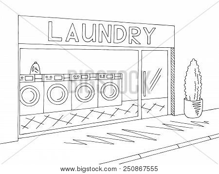 Laundry Exterior Graphic Black White Sketch Illustration Vector