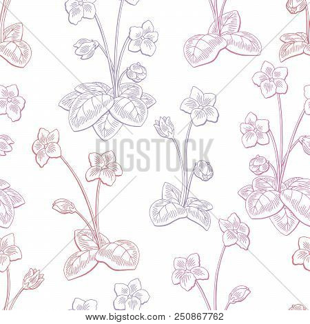 Violet Flower Graphic Color Seamless Pattern Sketch Background Illustration Vector