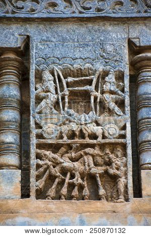 Sculpture Depicting A War Between Bhishma And Arjuna. Bhishma Lying On The Bed Of Arrows. Chennakesh