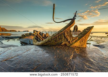 Wreck Of The Fishing Trawler Admiral Von Tromp At Saltwick Bay Near Whitby, North Yorkshire, England