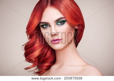 Beauty Fashion Model Girl with Colorful Dyed Hair. Girl with Perfect Makeup and Hairstyle. Model with Perfect Healthy Dyed Hair poster