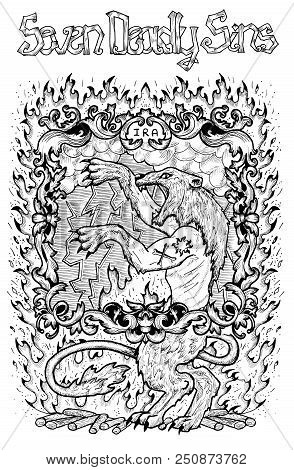 Wrath. Latin Word Ira Means Anger. Seven Deadly Sins Concept, Black And White Line Art. Hand Drawn E