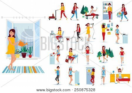 Big Set Character Modern Girl. Weekdays Of Young Girl In Different Situations. Home Affairs, Work, S