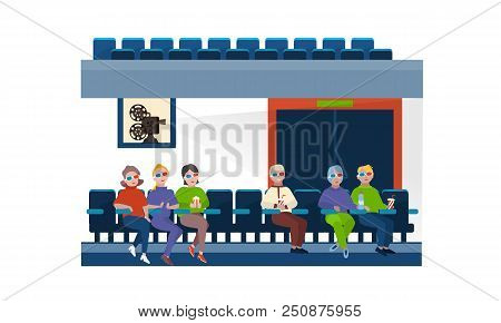 People, spectators in 3d glasses, in cinema hall on the seats, in front of large movie screen. Time of cinema, theater hall. View on the wide screen of room. Vector illustration isolated. poster