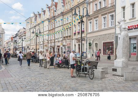 Opole, Poland - June 15, 2018: Old Town In Opole, Eastern Frontage Is The Avenue Of Polish Song Star