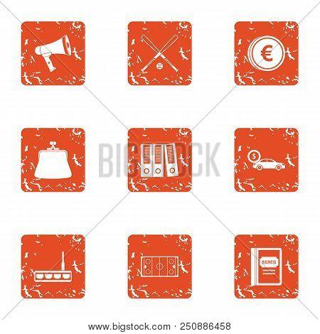 Explanation Icons Set. Grunge Set Of 9 Explanation Vector Icons For Web Isolated On White Background