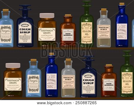 Old Apothecary. Vintage Bottles On Wooden Shelves. Seamless Background