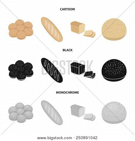 Cut Loaf, Bread Roll With Powder, Half Of Bread, Baking.bread Set Collection Icons In Cartoon, Black