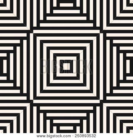 Vector Geometric Lines Seamless Pattern. Abstract Black And White Ornament With Stripes, Squares, Re