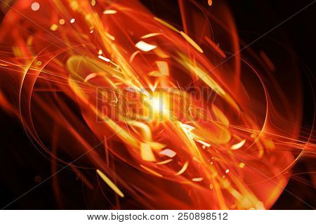Fiery glowing quantum explosion , computer generated abstract background, 3D rendering poster
