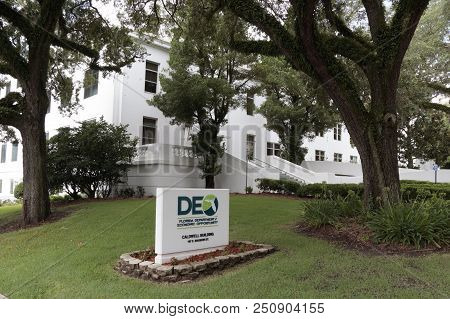 Tallahassee, Fl, Usa - July 15, 2018: Front Sign And Exterior Facade Of The Department Of Economic O