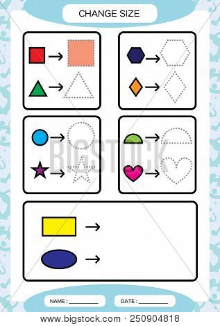 Change Size. Different Shape Sizes. Small, Large. Learning Basic Shapes. Color, Trace, And Draw. Wor