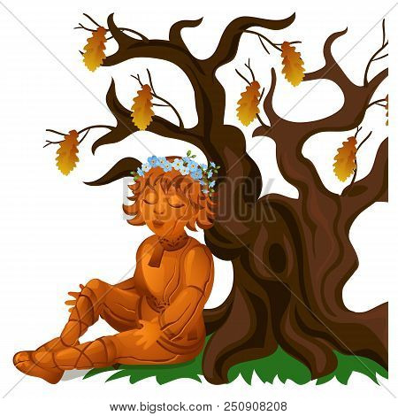 Wooden Statue Of A Boy In An Ethnic Russian Costume, Sitting Near A Dry Oak Isolated On White Backgr