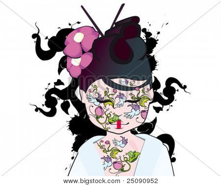 geisha flower tattoo