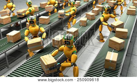 Modern Concept Of Precise Automated Sorting In Production Or Delivery Robots Shift Boxes From The Co