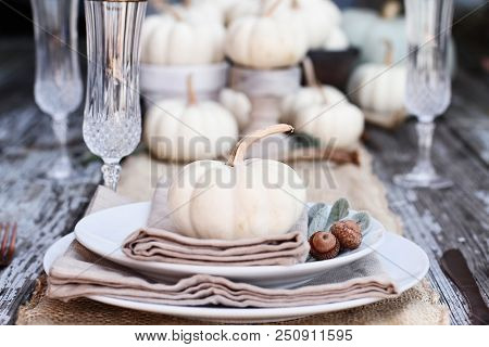 Place Setting On A Rustic Farmhouse Country Table With Mini White Pumpkins, And Crystal Glasses For