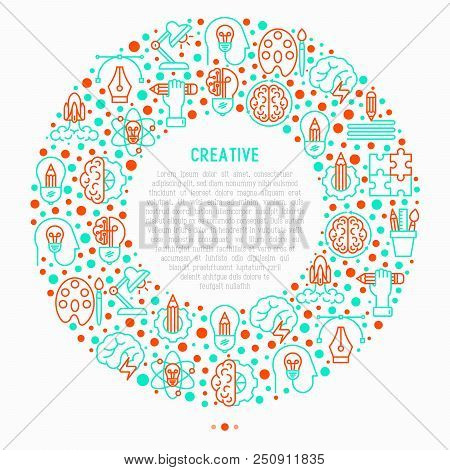 Creative Concept In Circle With Thin Line Icons: Generation Of Idea, Start Up, Brief, Brainstorming,