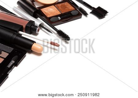 Beauty Products For Casual Everyday Make-up On White Background.  Selective Focus, Copy Space