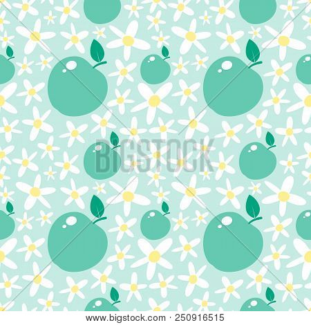 Light Green Seamless Pattern With Apples And Daisies