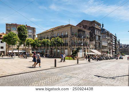Vigo, Spain - May 20, 2017: Street Life In Ancient Historic Spanish Town Vigo In Galicia, Spain. Ord