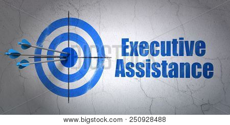 Success Business Concept: Arrows Hitting The Center Of Target, Blue Executive Assistance On Wall Bac