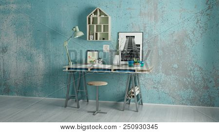 Desk at home in the study to study or work (3D Rendering)