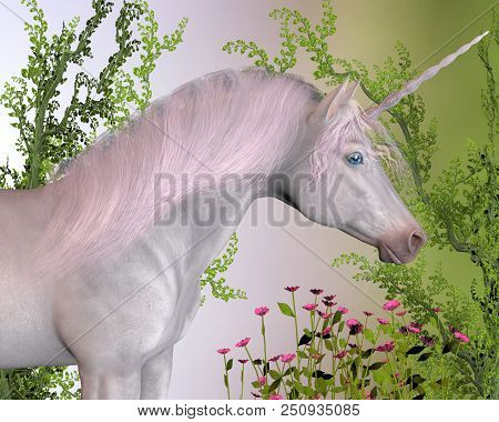 Enchanted Unicorn 3d Illustration - A White Enchanted Unicorn Mare With Pink Mane Stands By Pink Flo