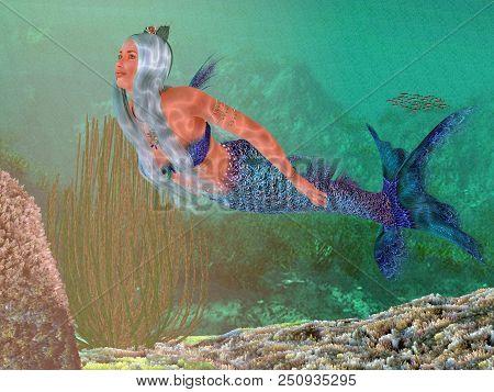 Marine Mermaid 3d Illustration - A Beautiful Mermaid Crowned With Seashells Swims Gracefully Underwa