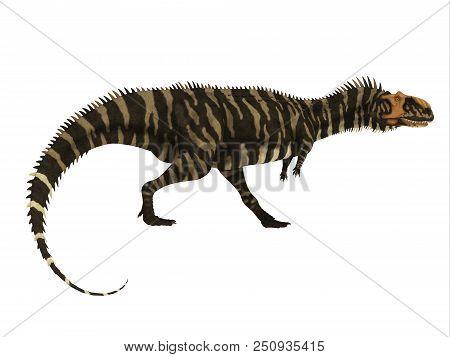 Rajasaurus Dinosaur Side Profile 3d Illustration - Rajasaurus Was A Carnivorous Theropod Dinosaur Th