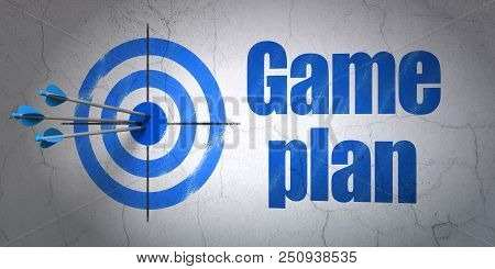 Success Business Concept: Arrows Hitting The Center Of Target, Blue Game Plan On Wall Background, 3d