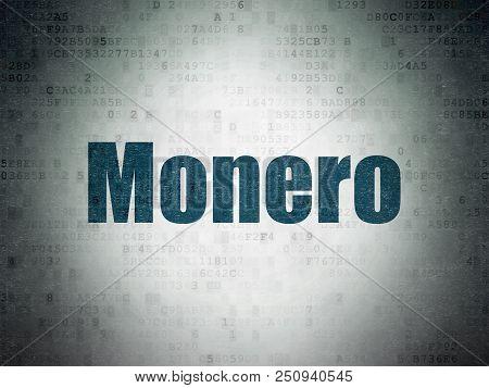 Blockchain Concept: Painted Blue Word Monero On Digital Data Paper Background
