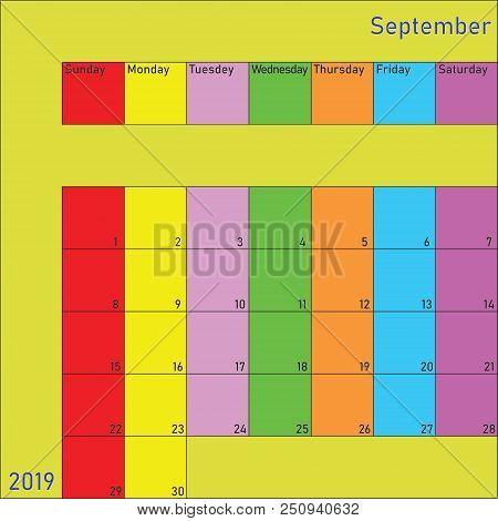 September 2019 Calendar Planer With Specific Color For Each Weekday And Month Color