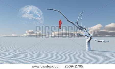 Surreal white desert. Man in red suit is hanged on a dry tree. 3D rendering