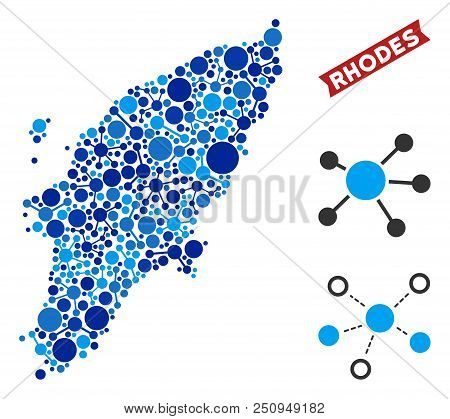 Web Greek Rhodes Island Map Mosaic. Abstract Geographic Plan Of Links In Blue Shades. Vector Greek R