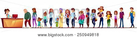 People In Long Queue Vector Illustration. Black Afro American Pregnant Woman With Girl, Saudi Arabia