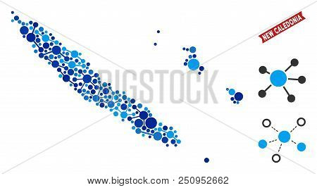 Network New Caledonia Islands Map Collage. Abstract Territorial Plan Of Links In Blue Shades. Vector