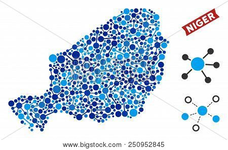 Web Niger Map Collage. Abstract Territorial Plan Of Links In Blue Color Hues. Vector Niger Map Is Do