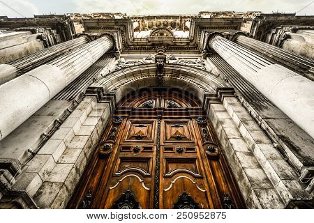 Impressive Gothic Doors On The Church Of St Pauls Shipwreck In The City Of Valleta On The Mediterran