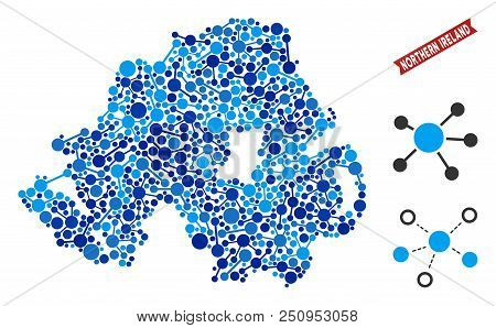 Web Northern Ireland Map Collage. Abstract Geographic Plan Of Relations In Blue Color Tinges. Vector