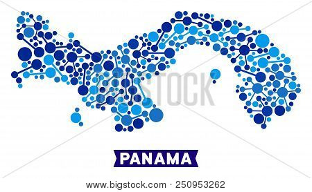 Web Panama Map Mosaic. Abstract Geographic Scheme Of Links In Blue Color Tinges. Vector Panama Map I