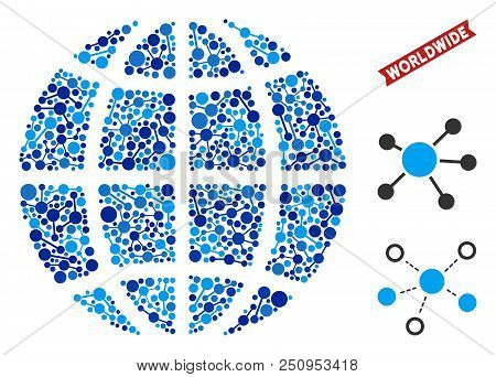Network Planet Globe Composition. Abstract Territorial Scheme Of Connections In Blue Color Tinges. V